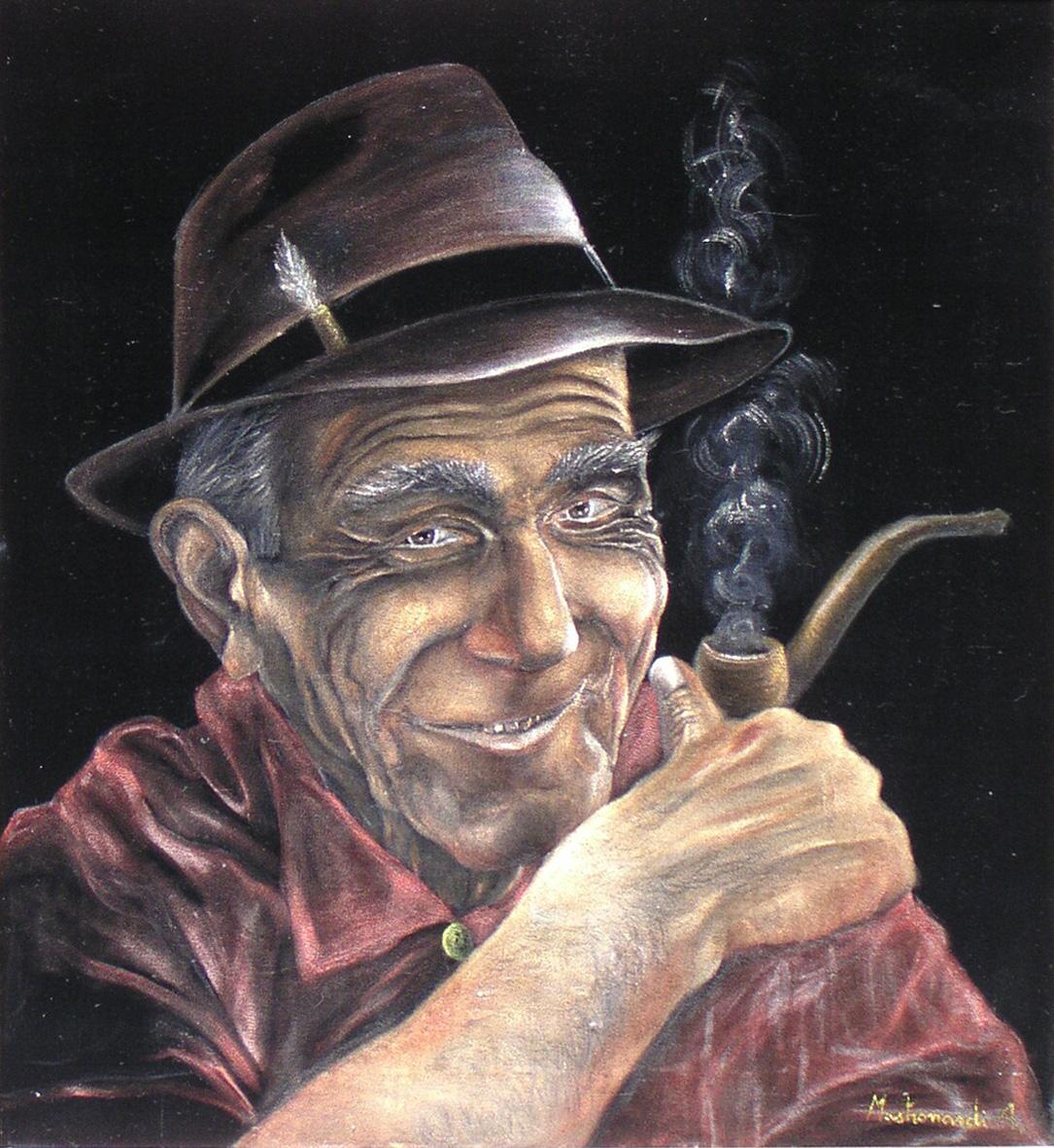 Man Smoking Pipe On Velvet